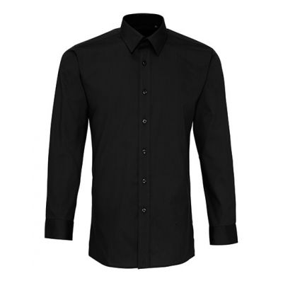 Men`s Long Sleeve Fitted Poplin Shirt