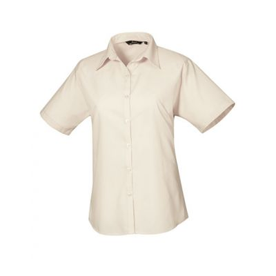Ladies` Poplin Short Sleeve Blouse