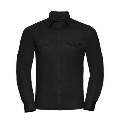 Men`s Roll Long Sleeve Fitted Twill Shirt