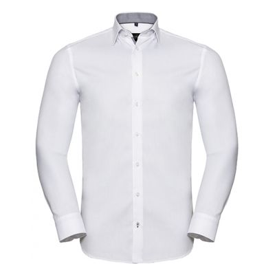 Men`s Long Sleeve Tailored Contrast Herringbone Shirt
