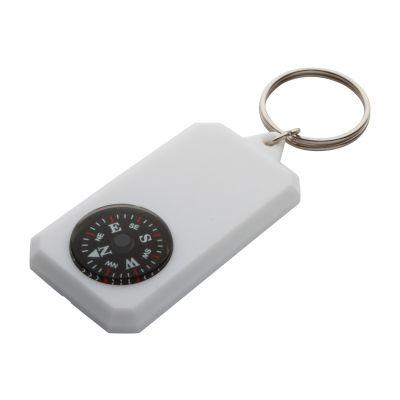 Schlüsselanhänger mit Kompass Magellan weiß bedrucken