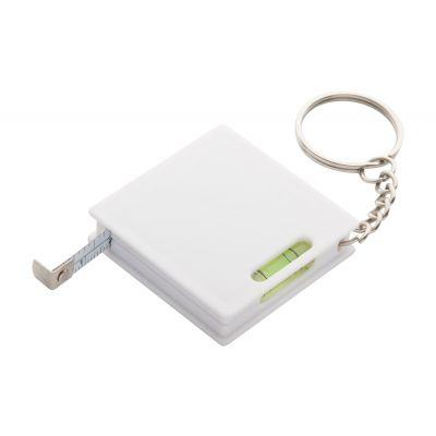 Schlüsselanhänger mit Maßband Level weiß bedrucken