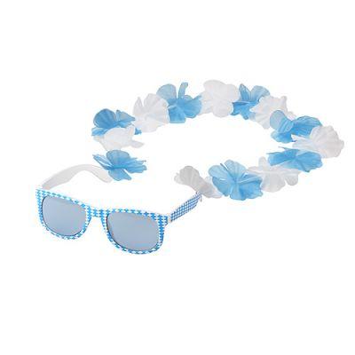 """Spaßbrille """"Bavaria"""" mit Blumenkette weiß-blau EL0109700"""