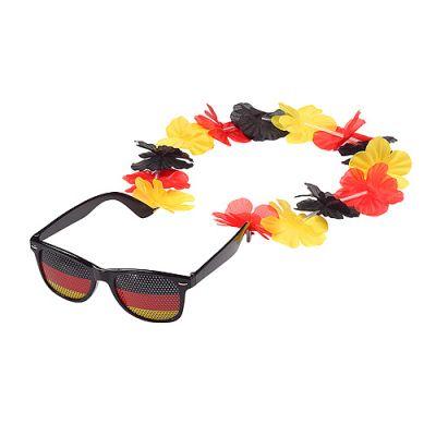 """Spaßbrille """"Germany"""" mit Blumenkette schwarz-rot-gelb EL0109800"""
