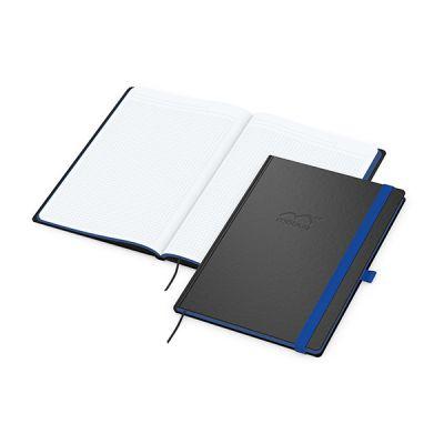 Color-Book A4 Bestseller, Farbschnitt mittelblau inkl. Prägung mit Logo bedrucken - Werbeartikel