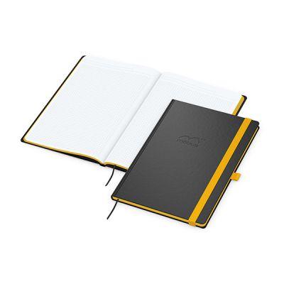 Color-Book A4 Bestseller, Farbschnitt gelb inkl. Prägung mit Logo bedrucken - Werbeartikel
