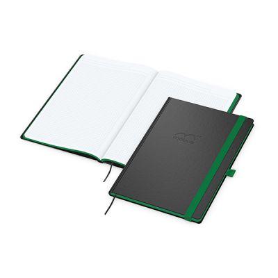 Color-Book A4 Bestseller, Farbschnitt grün inkl. Prägung mit Logo bedrucken - Werbeartikel
