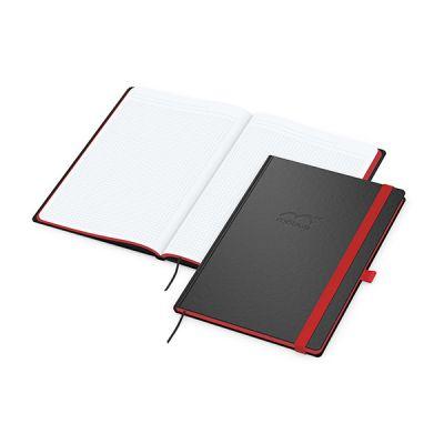 Color-Book A4 Bestseller, Farbschnitt rot inkl. Prägung mit Logo bedrucken - Werbeartikel