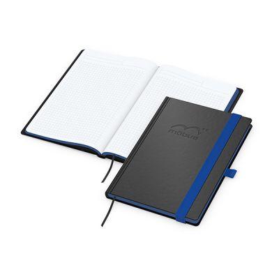 Color-Book A5 Bestseller, Farbschnitt mittelblau inkl. Prägung mit Logo bedrucken - Werbeartikel