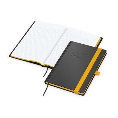 Color-Book A5 Bestseller, Farbschnitt gelb inkl. Prägung mit Logo bedrucken - Werbeartikel