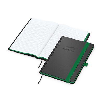 Color-Book A5 Bestseller, Farbschnitt grün inkl. Prägung mit Logo bedrucken - Werbeartikel