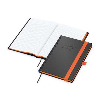 Color-Book A5 Bestseller, Farbschnitt orange inkl. Prägung mit Logo bedrucken - Werbeartikel