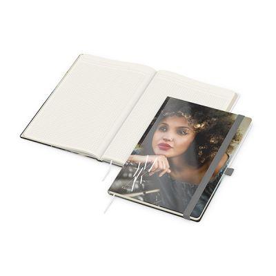 Match-Book Creme A4 Bestseller, gloss-individuell, silbergrau inkl. 4C Druck mit Logo bedrucken - Werbeartikel