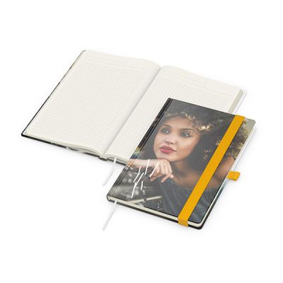 Match-Book Creme A5 Bestseller, matt-individuell, gelb inkl. 4C Druck mit Logo bedrucken - Werbeartikel