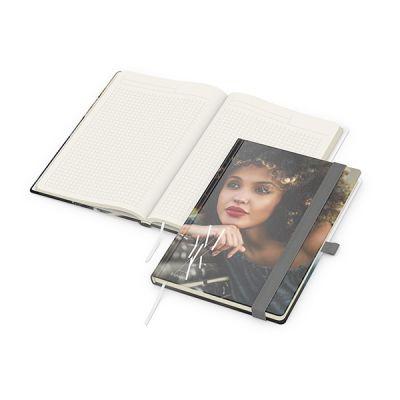 Match-Book Creme A5 Bestseller, matt-individuell, silbergrau inkl. 4C Druck mit Logo bedrucken - Werbeartikel