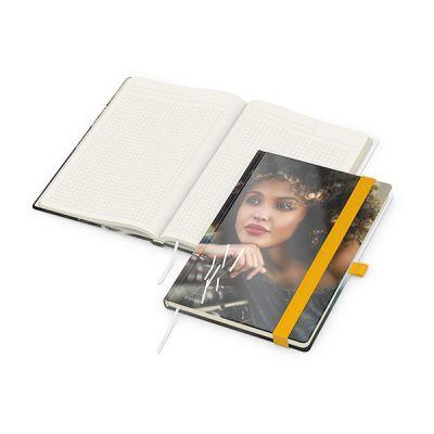 Match-Book Creme A5 Bestseller, gloss-individuell, gelb inkl. 4C Druck mit Logo bedrucken - Werbeartikel