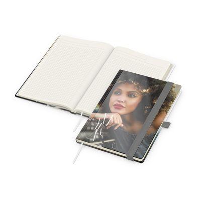 Match-Book Creme A5 Bestseller, gloss-individuell, silbergrau inkl. 4C Druck mit Logo bedrucken - Werbeartikel