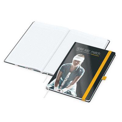 Match-Book White A4 Bestseller, gloss-individuell, gelb inkl. 4C Druck mit Logo bedrucken - Werbeartikel