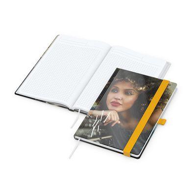 Match-Book White A5 Bestseller, gloss-individuell, gelb inkl. 4C Druck mit Logo bedrucken - Werbeartikel