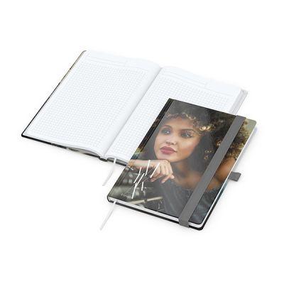 Match-Book White A5 Bestseller, gloss-individuell, silbergrau inkl. 4C Druck mit Logo bedrucken - Werbeartikel