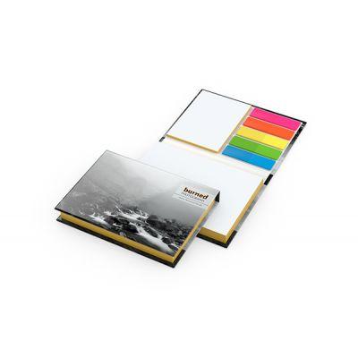 Prag White mit Farbschnitt Gelb Bestseller inkl. 4C Druck mit Logo bedrucken - Werbeartikel