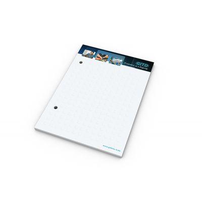 Schreibblock A5 Cover 2-fach Abheftlochung Bestseller inkl. 4C Druck mit Logo bedrucken - Werbeartikel