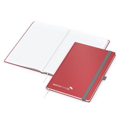 Vision-Book A4 Bestseller, rot Siebdruck-Digital inkl. 4C Druck mit Logo bedrucken - Werbeartikel