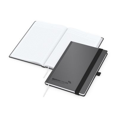 Vision-Book A5 Bestseller, anthrazit, Prägung schwarz-glänzend inkl. Prägung mit Logo bedrucken - Werbeartikel