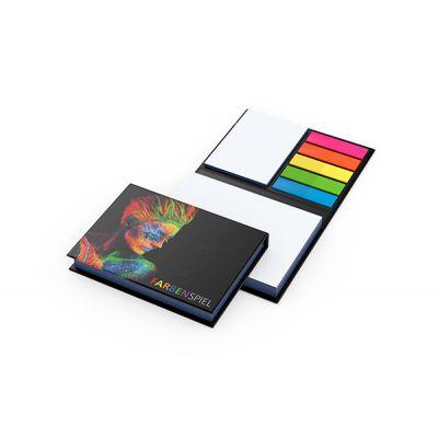 Wien White mit Farbschnitt Blau Bestseller inkl. 4C Druck mit Logo bedrucken - Werbeartikel