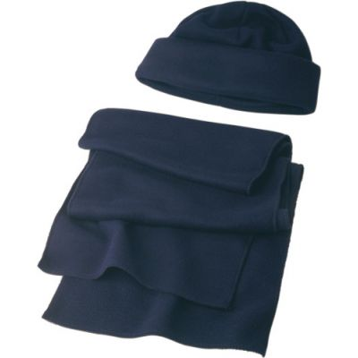 Winter-Set 'Salzburg' aus Polyester-Fleece blau - 1745