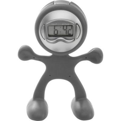 Tischuhr 'Magic Men' aus flexiblem ABS-Kunststoff grau - 307327