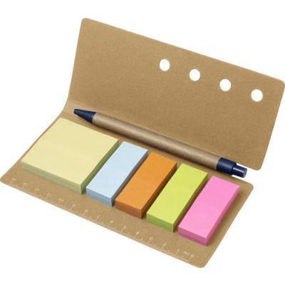 Haftnotiz-Set 'Pur' aus Karton braun - G783011
