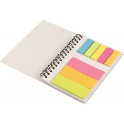 Notizbuch 'Colours' mit Ringbindung und Haftnotizen beige - G829521