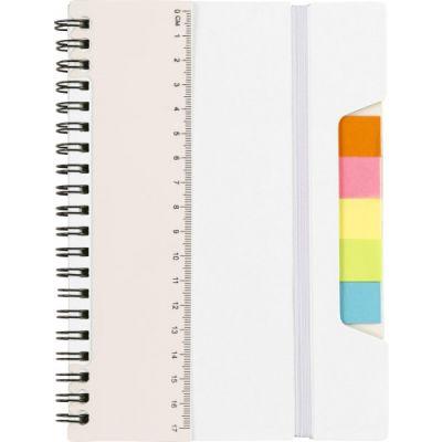 Notizbuch 'Lineal' mit Ringbindung weiß - G8300