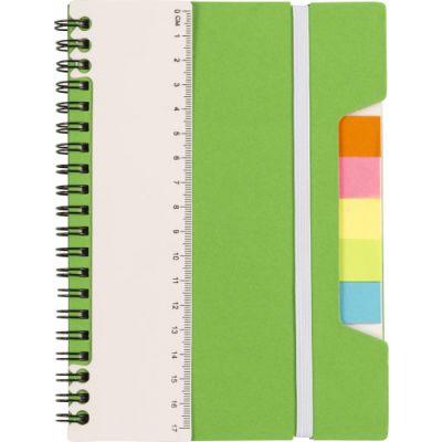 Notizbuch 'Lineal' mit Ringbindung grün - G830019