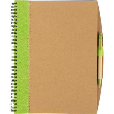 Notizbuch 'Lyrics' aus recycletem Karton mit Stift grün - G857019