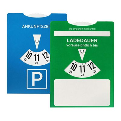 Ladedauer-Scheibe für Elektroautos mit rückseitiger Parkscheibe - HE0009200