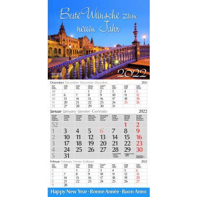 3-Monats-Fotokalender Europa