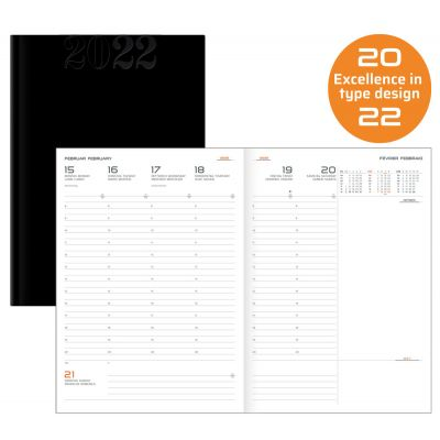 Terminkalender, Wochenkalender, Large, schwarz Kunstleder