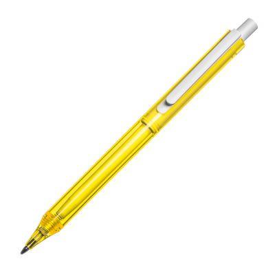 Transparenter Kugelschreiber mit weißem Clip gelb