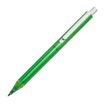 Transparenter Kugelschreiber mit weißem Clip grün
