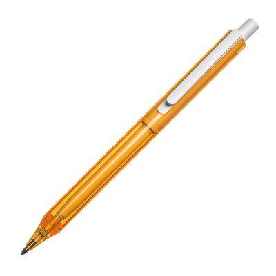 Transparenter Kugelschreiber mit weißem Clip orange