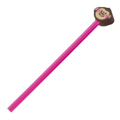 Holz-Bleistift mit verschiedenen Radiergummiaufsätzen pink