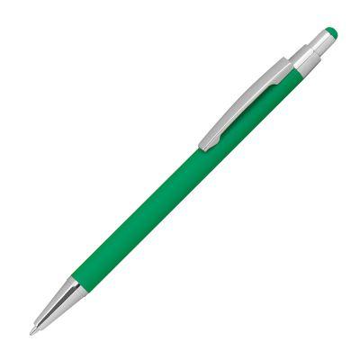 Kugelschreiber aus Metall mit Überzug aus Rubber und Touchfunktion grün