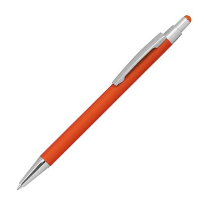 Kugelschreiber aus Metall mit Überzug aus Rubber und Touchfunktion orange