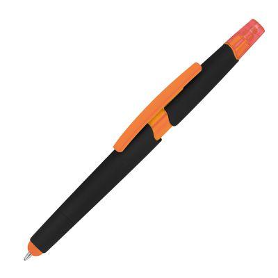Kugelschreiber aus Plastik mit Textmarker und Touchfunktion orange