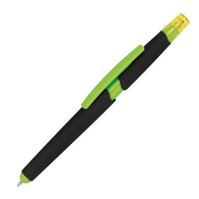 Kugelschreiber aus Plastik mit Textmarker und Touchfunktion grün
