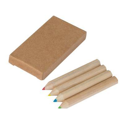 Set bestehend aus 4 Holzbuntstiften braun