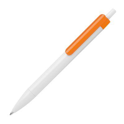 Kugelschreiber mit farbigem Clip orange