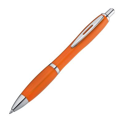 Kunststoffkugelschreiber mit Metallclip orange